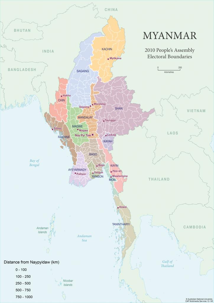 Myanmar, Burmna, Kaart