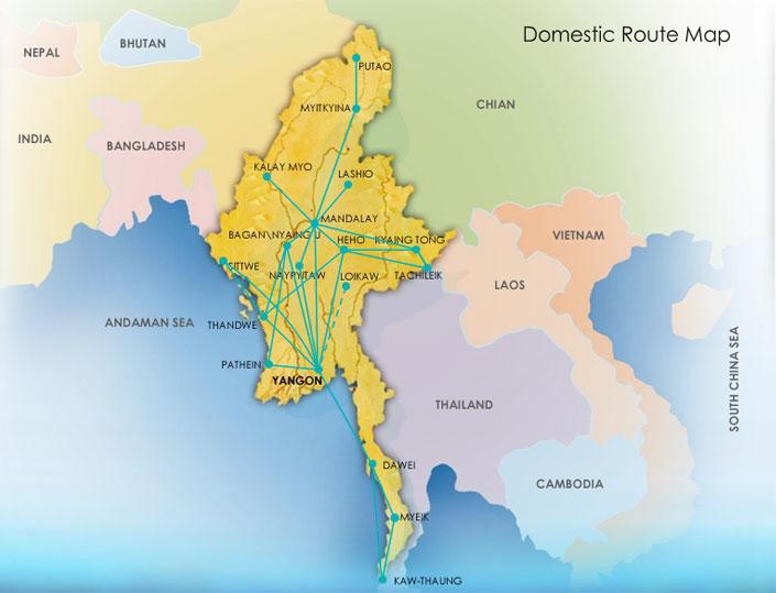 Kaart met binnenlandse vluchten myanmar